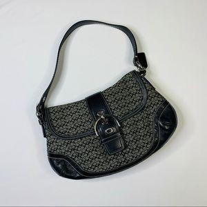 COACH  Hobo Shoulder Bag Purse Black Leather Trim